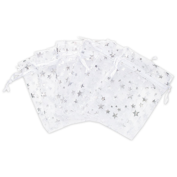 "3"" x 4"" White with Silver Star Organza Drawstring Pouch Gift Bags"