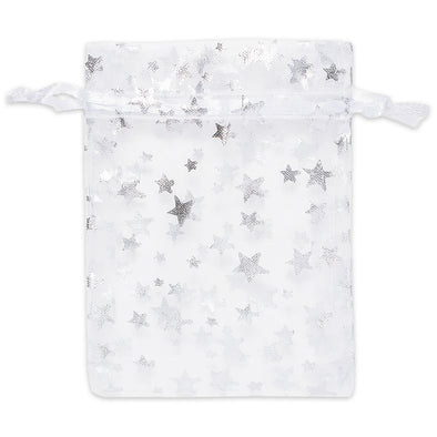 White with Silver Star Organza Drawstring Pouch Gift Bags