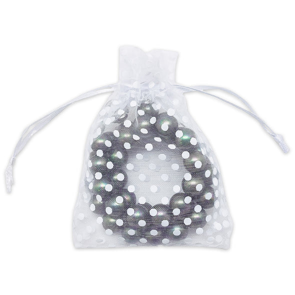 White with White Polka Dot Organza Drawstring Pouch Gift Bags