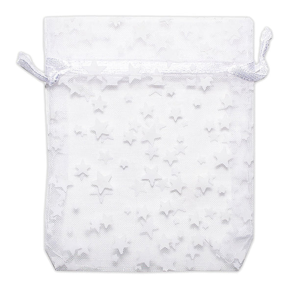 White with White Star Organza Drawstring Pouch Gift Bags