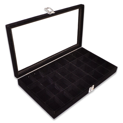"14 3/4"" x 8 1/4"" 32 Compartment Black Velvet Display Case w/ Glass Top and Key"