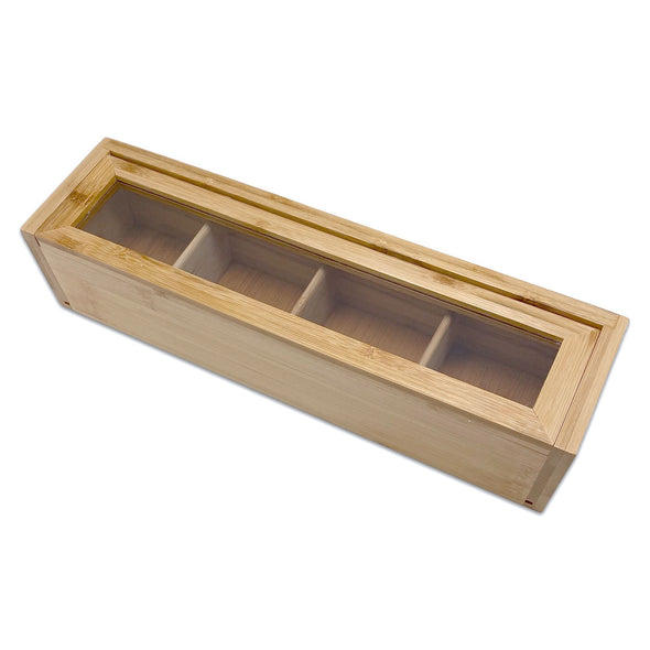 32 x 8.5 x 7cm Bam & Boo 4 Compartment Bamboo Jewelry Organizer Case
