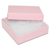 "3 1/2"" x 3 1/2"" x 1"" Pink Cotton Filled Paper Box"