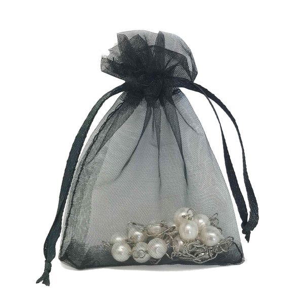 "3""x4"" Black Organza Drawstring Pouches"