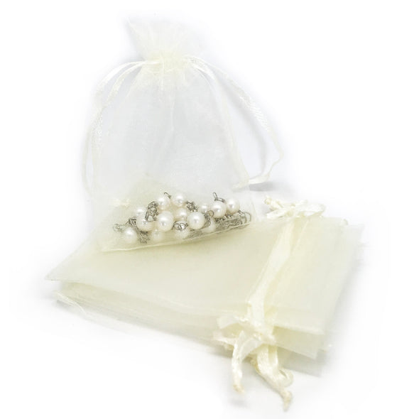"3""x4"" Cream Color Organza Drawstring Pouches"