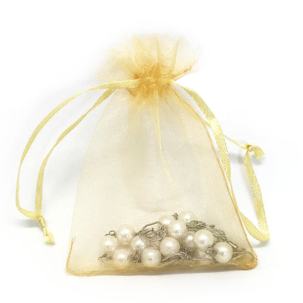 "3""x4"" Gold Color Organza Drawstring Pouches"