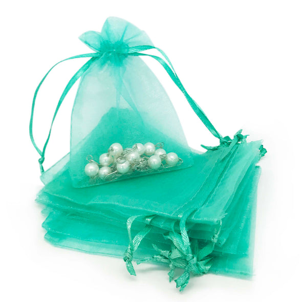 "3""x4"" Teal Green Organza Drawstring Pouches"