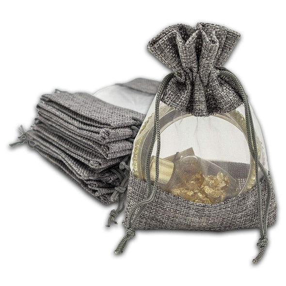 "4"" x 5"" Linen Burlap and Sheer Organza Gray Gift Bag"