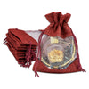 "4"" x 5"" Linen Burlap and Sheer Organza Maroon Gift Bag"