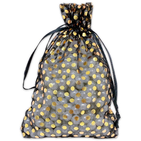 "4"" x 6"" Black with Gold Polka Dot Organza Drawstring Pouch Gift Bags"