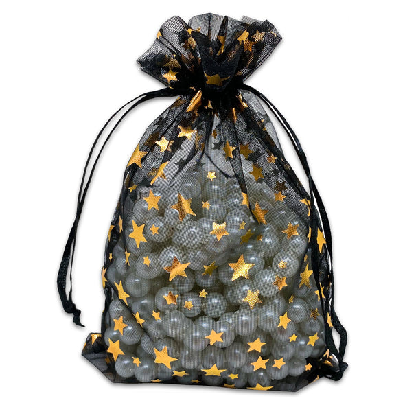 "4"" x 6"" Black with Gold Star Organza Drawstring Pouch Gift Bags"