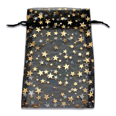"4"" x 6"" Black and Gold Star Organza Drawstring Pouch Gift Bags"