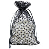 Black with Black Polka Dot Organza Drawstring Pouch Gift Bags