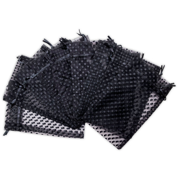 "4"" x 6"" Black with Black Polka Dot Organza Drawstring Pouch Gift Bags"
