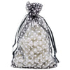 "4"" x 6"" Black with White Polka Dot Organza Drawstring Pouch Gift Bags"