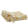 "4"" x 6"" Cotton Muslin Gold Heart Drawstring Gift Bags"