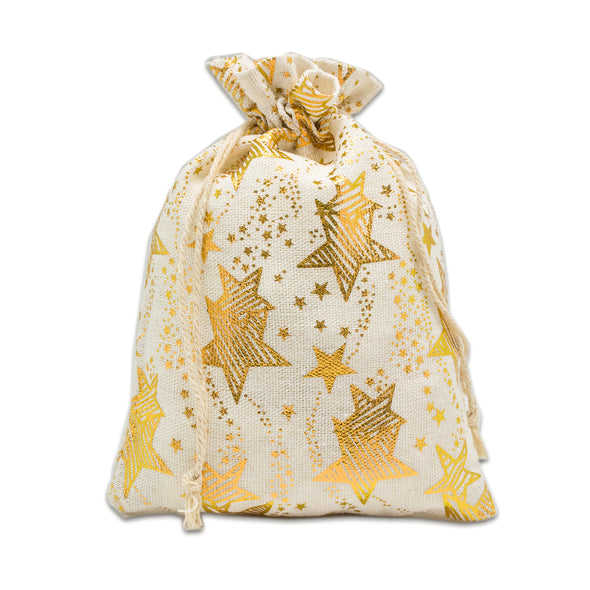 "4"" x 6"" Cotton Muslin Gold Star Drawstring Gift Bags"