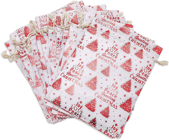 "4"" x 6"" Cotton Muslin Red Christmas Tree Drawstring Gift Bags"