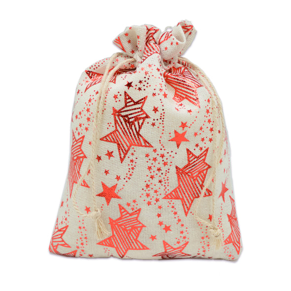 "4"" x 6"" Cotton Muslin Red Star Drawstring Gift Bags"