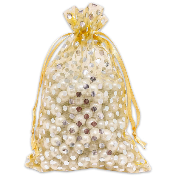 "4"" x 6"" Gold with Silver Polka Dot Organza Drawstring Pouch Gift Bags"