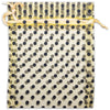 "4"" x 6"" Gold with Black Polka Dot Organza Drawstring Pouch Gift Bags"