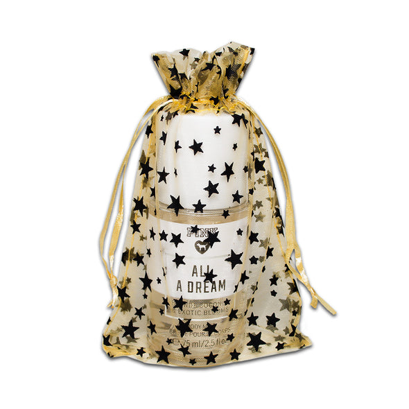 "4"" x 6"" Gold with Black Star Organza Drawstring Pouch Gift Bags"