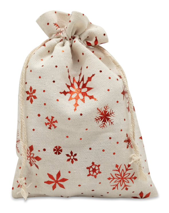 "4"" x 6"" Cotton Muslin Red Snowflake Drawstring Gift Bags"