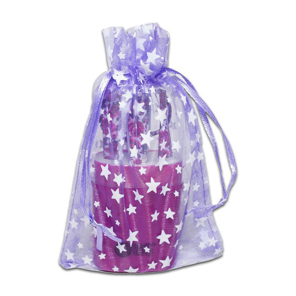Lavender with White Star Organza Drawstring Pouch Gift Bags