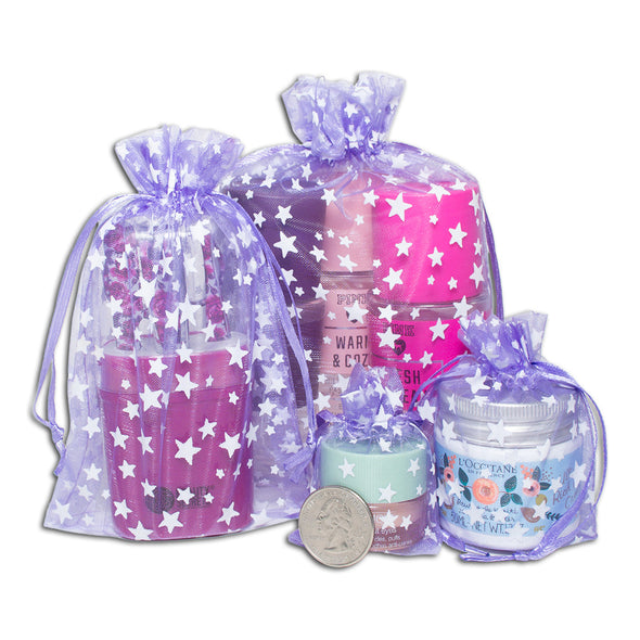 "4"" x 6"" Lavender with White Star Organza Drawstring Pouch Gift Bags"
