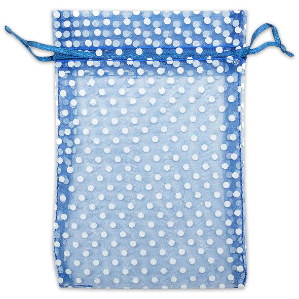 "4"" x 6"" Navy with White Polka Dot Organza Drawstring Pouch Gift Bags"