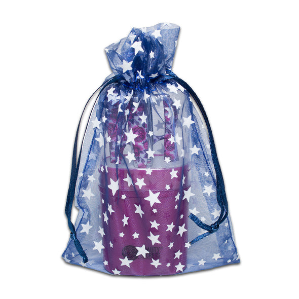 "4"" x 6"" Navy with White Star Organza Drawstring Pouch Gift Bags"