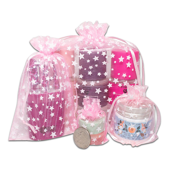 "4"" x 6"" Pink with White Star Organza Drawstring Pouch Gift Bags"