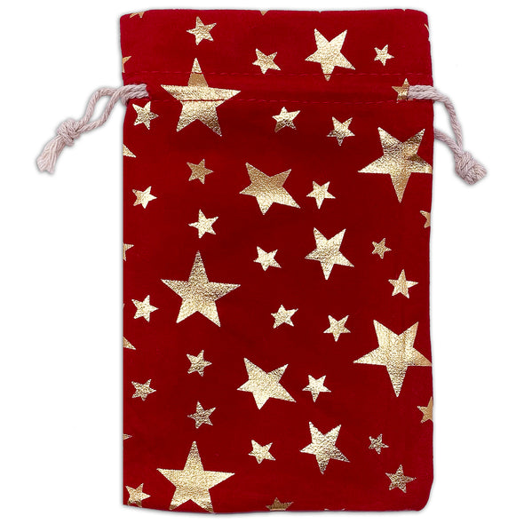"4"" x 6"" Red Velvet Gold Star Christmas Drawstring Gift Bags"