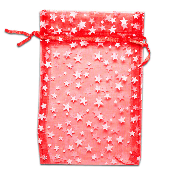 "4"" x 6"" Red with White Star Organza Drawstring Pouch Gift Bags"