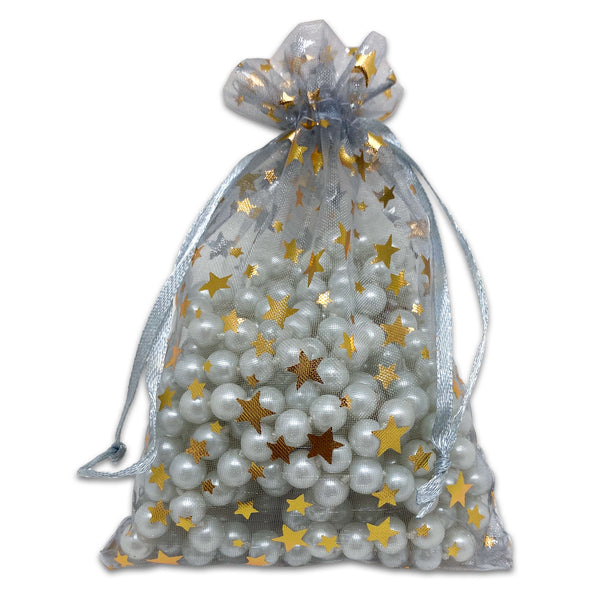 "4"" x 6"" Silver with Gold Star Organza Drawstring Pouch Gift Bags"