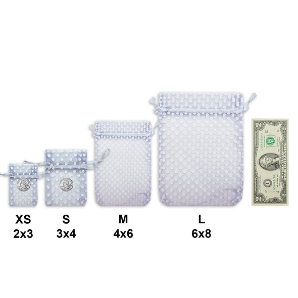 "4"" x 6"" Silver with White Polka Dot Organza Drawstring Pouch Gift Bags"