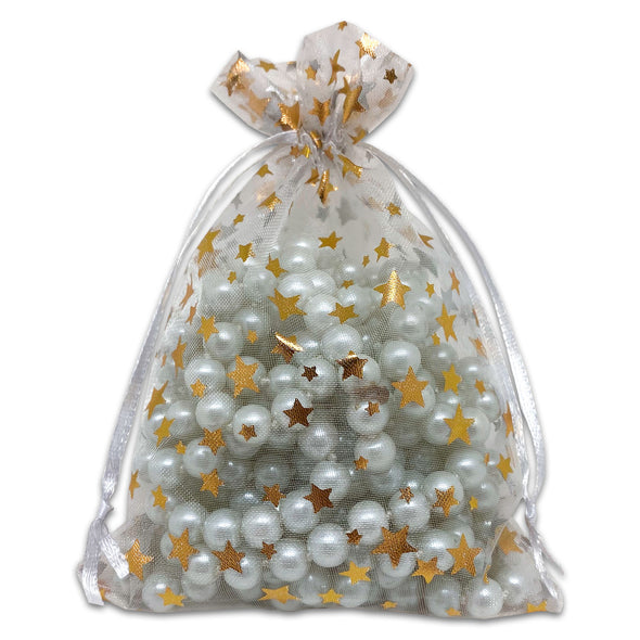 "4"" x 6"" White with Gold Star Organza Drawstring Pouch Gift Bags"