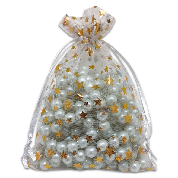 White with Gold Star Organza Drawstring Pouch Gift Bags