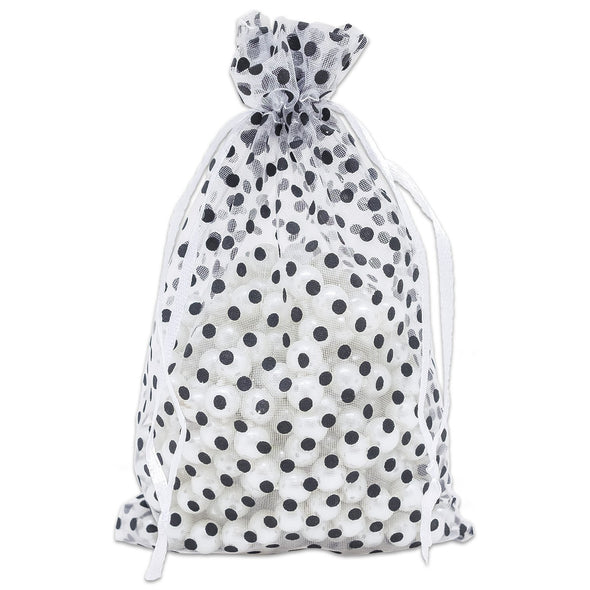 White with Black Polka Dot Organza Drawstring Pouch Gift Bags