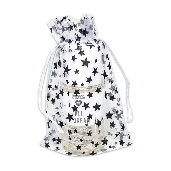 "4"" x 6"" White with Black Star Organza Drawstring Pouch Gift Bags"