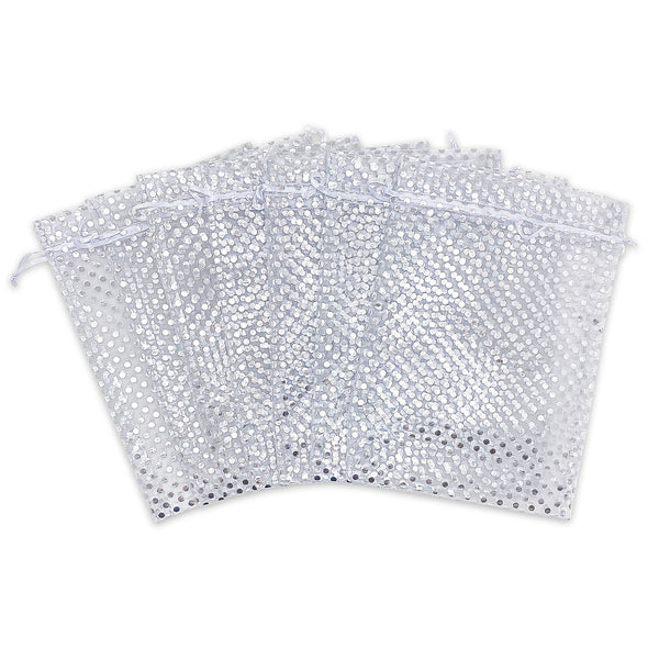 "4"" x 6"" White with Silver Polka Dot Organza Drawstring Pouch Gift Bags"