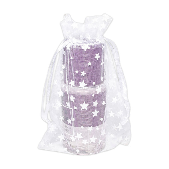 "4"" x 6"" White with White Star Organza Drawstring Pouch Gift Bags"
