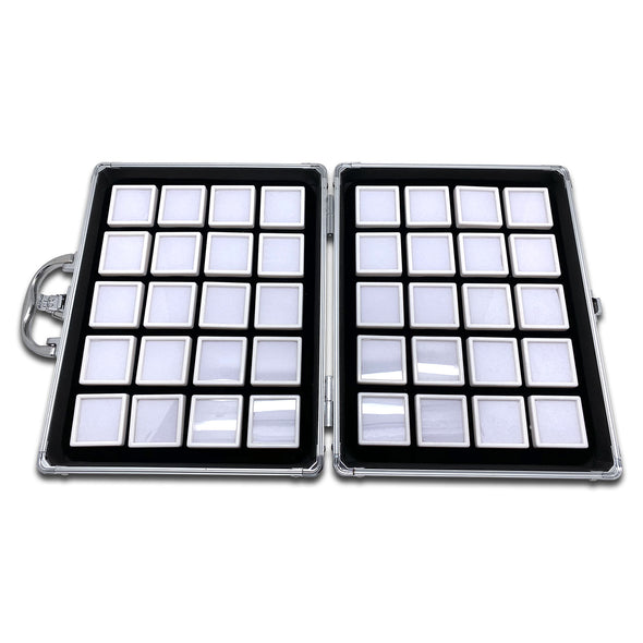 40 White Gem Boxes with Aluminum Display Case