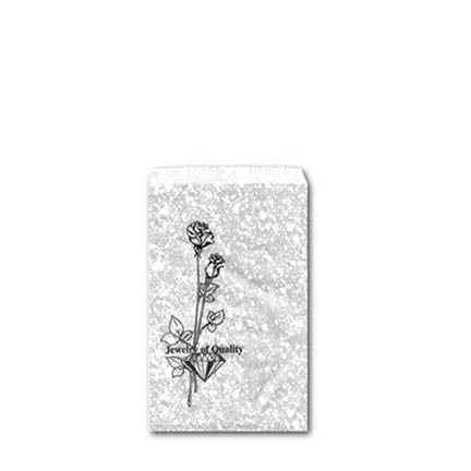 "4"" x 6"" Silver Paper Gift Jewelry Merchandise Rose Bag"