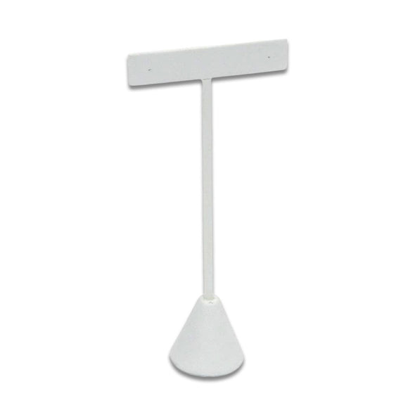 "5 3/4"" Single White Leatherette T-Shape Earring Display Stand"