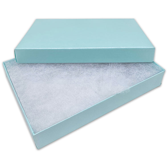 "5 7/16"" x 3 15/16"" x 1"" Light Pearl Teal Cotton Filled Paper Box"