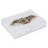 "5 7/16"" x 3 15/16"" x 1"" Marble White Cotton Filled Paper Box"