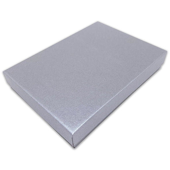 "5 7/16"" x 3 15/16"" x 1"" Pearl Gray Cotton Filled Paper Box"