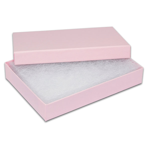 "5 7/16"" x 3 15/16"" x 1"" Pink Cotton Filled Paper Box"