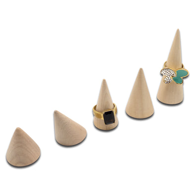 5 Piece Tiered Wood Cone Ring Stands